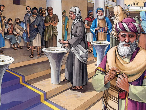 Then Jesus sat down opposite the offering box, and watched the crowd putting coins into it. – Slide 1