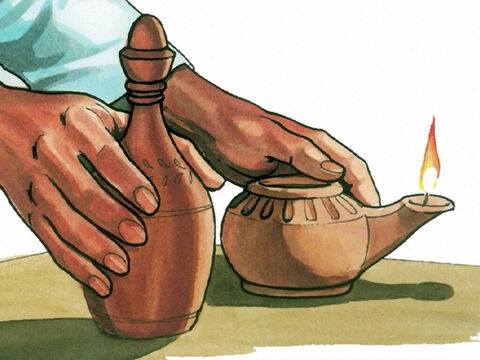 'When the foolish ones took their lamps, they did not take extra olive oil with them. But the wise ones took flasks of olive oil with their lamps. – Slide 4