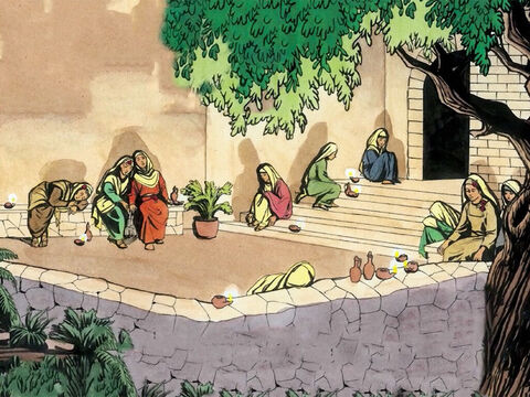 'When the bridegroom was delayed a long time, they all became drowsy and fell asleep. – Slide 5