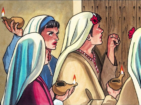 "'Later, the other virgins returned, saying, ""Lord, lord! Let us in!"" But he replied, ""I tell you the truth, I do not know you!"" – Slide 12"