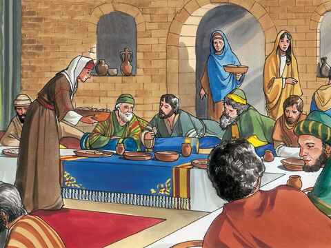 So they prepared a dinner for Jesus there. Martha was serving, and Lazarus was among those present at the table with him. – Slide 2