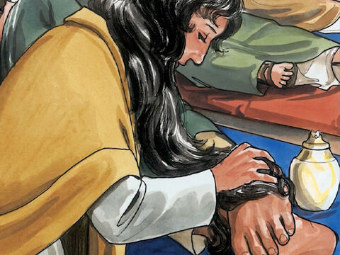 Then Mary took three quarters of a pound of expensive aromatic oil from pure nard and anointed the feet of Jesus. She then wiped his feet dry with her hair. (Now the house was filled with the fragrance of the perfumed oil.) – Slide 3