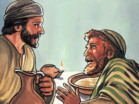 Jesus replied, 'You do not understand what I am doing now, but you will understand after these things.' <br/>Peter said to Him, 'You will never wash my feet!'<br/>Jesus replied,  'If I do not wash you, you have no part with me.' – Slide 8