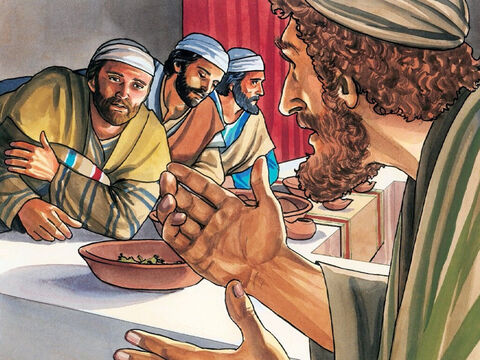 One of His disciples, the one Jesus loved, was at the table to the right of Jesus in a place of honour. So Simon Peter gestured to this disciple to ask Jesus who it was He was referring to. – Slide 3