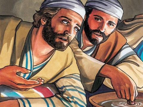 Then the disciple whom Jesus loved leaned back against Jesus' chest and asked Him, 'Lord, who is it?'<br/>Jesus replied, 'It is the one to whom I will give this piece of bread after I have dipped it in the dish.' – Slide 4
