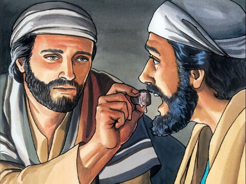 Then Jesus dipped the piece of bread in the dish and gave it to Judas Iscariot. – Slide 5