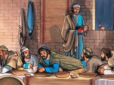 (Now none of those present at the table understood why Jesus said this to Judas. Some thought that, because Judas had the money box, Jesus was telling him to buy whatever they needed for the feast,or to give something to the poor.) – Slide 7