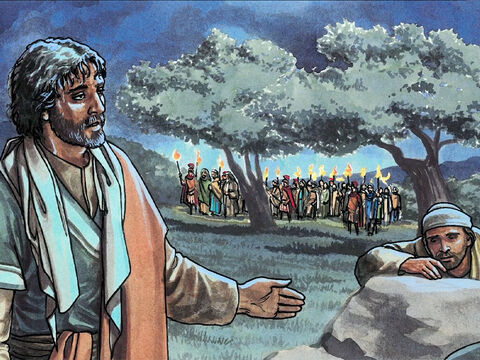 He came a third time and said to them, 'Are you still sleeping and resting? Enough of that! The hour has come. Look, the Son of Man is betrayed into the hands of sinners. Get up, let us go. Look! My betrayer is approaching!' – Slide 10