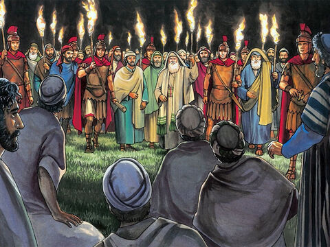 While He was still speaking, suddenly a crowd appeared, and the man named Judas, one of the twelve, was leading them. – Slide 11