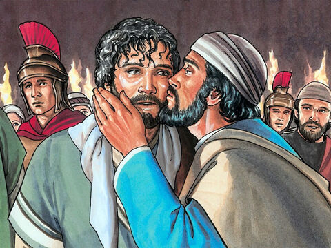 He walked up to Jesus to kiss Him. But Jesus said to him, 'Judas, would you betray the Son of Man with a kiss?' – Slide 12
