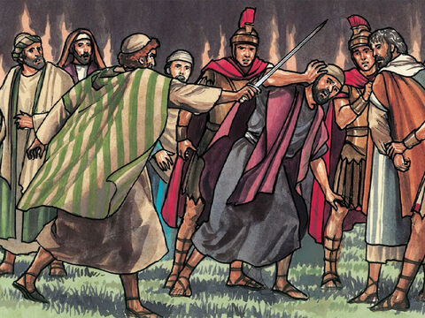 Then Peter struck the high priest's slave, cutting off his right ear. – Slide 14