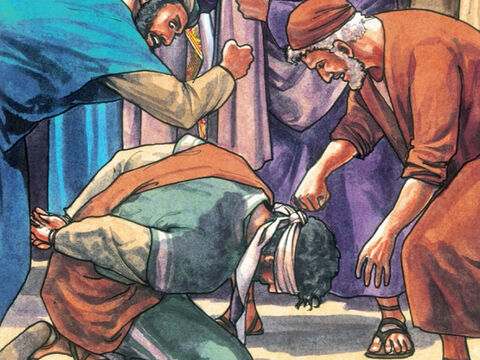 Then they blindfolded Him, spat in His face and struck Him with their fists. Some slapped Him saying, 'Prophesy for us you Christ, who hit you?' – Slide 13