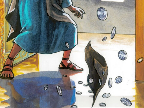 So Judas threw the silver coins into the Temple and left. – Slide 12