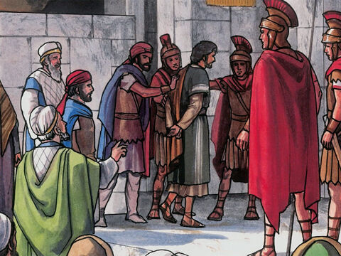 Then they brought Jesus from Caiaphas to the Roman Governor's residence. – Slide 1