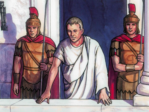 So Pilate came outside to them and said. 'What accusation do you bring against this man?' – Slide 4
