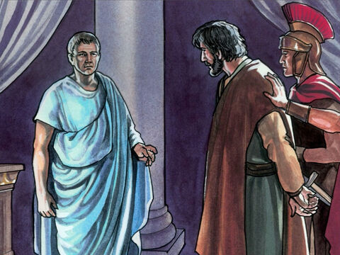 So Pilate went back into the Governor's residence and summoned Jesus and asked Him, 'Are you the King of the Jews?' – Slide 8