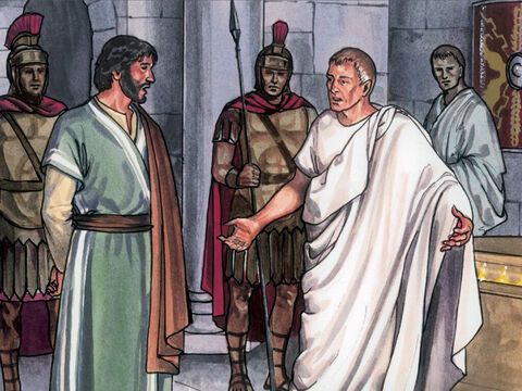Pilate answered, 'I am not a Jew am I? Your own people and your Chief Priests handed you over to me. What have you done?' – Slide 10