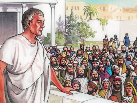 Then the crowd came up and began to ask Pilate to release a prisoner, as was his custom. – Slide 3