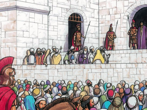 But the Chief Priests and the elders persuaded the crowds to ask for Barabbas and to have Jesus killed. – Slide 7