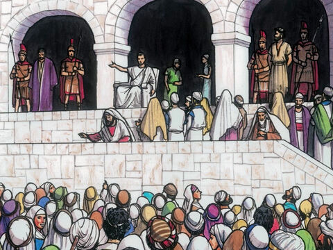 The Governor asked them, 'Which of the two do you want me to release for you?' And they said, 'Barabbas!' – Slide 8