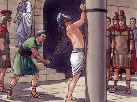 Then Pilate took Jesus and had Him severely flogged. – Slide 9