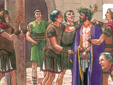 And they clothed Him in a purple robe. They came up to Him again and again and said, 'Hail King of the Jews!' And they struck Him repeatedly in the face. – Slide 11