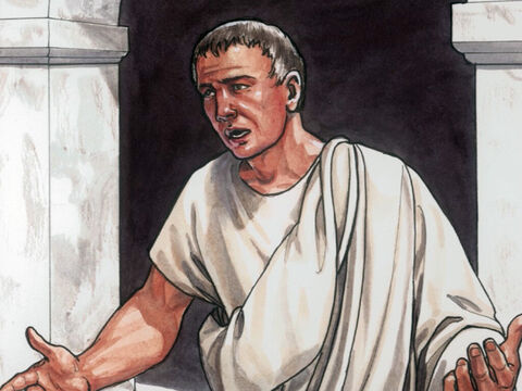 And Pilate went out to the Jewish leaders and said, 'Look I am bringing Jesus out to you, so you know I find no reason for an accusation against Him.' – Slide 1