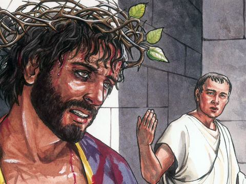 So Jesus came outside, wearing the crown of thorns and the purple robe. Pilate said, 'Look here is the man.' – Slide 2