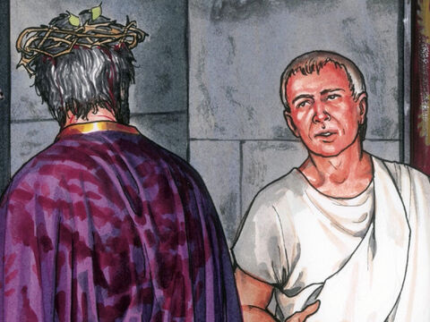 6When Pilate heard what He said he was more afraid than ever and he went back into the Governor's residence and said to Jesus, 'Where do you come from?' But Jesus gave him no answer. So Pilate said, 'You refuse to speak to me? Don't you know I have the authority to release you and to crucify you?' – Slide 6