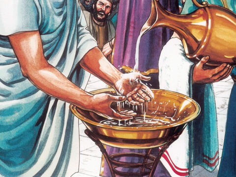 When Pilate saw that he could do nothing but instead a riot was starting, he took some water, washed his hands before the crowd and said, 'I am innocent of this man's blood. You take care of it yourselves.' – Slide 10