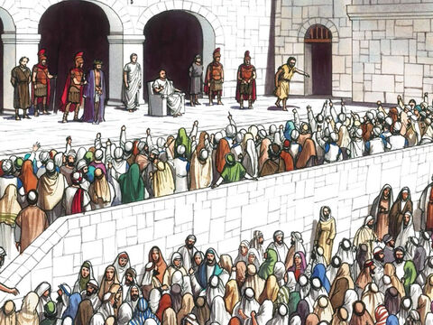 Then Pilate released Barabbas for them. But after he had Jesus flogged he handed Him over to be crucified. – Slide 12