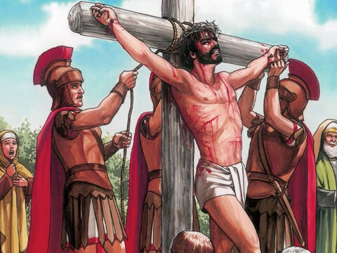 They crucified Him there along with the criminals, one on His right and one on His left. – Slide 3