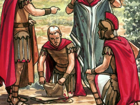 Now when the soldiers crucified Jesus, they took His clothes and made four shares, one for each soldier. The tunic remained, which was woven from top to bottom as a single piece. – Slide 5