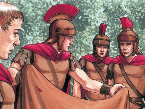 So the soldiers said to one another, 'Let's not tear it, but throw dice to see who will get it.' – Slide 6
