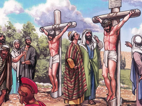 Those who passed by defamed Him, shaking their heads, saying, 'You who destroy the Temple and rebuild it in three days, save yourself and come down from the cross.' – Slide 1