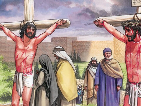 Those who were crucified with Him also spoke abusively to Him. One of the criminals hanging there railed at Him saying, 'Are you the Christ? Save yourself and us.' – Slide 3