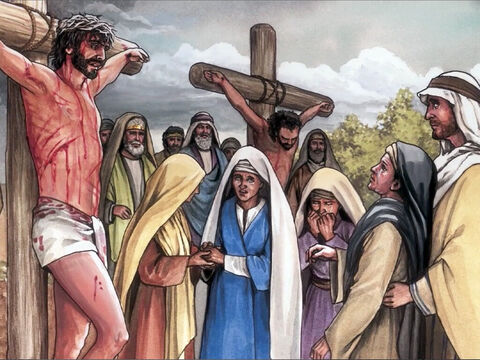 Now standing beside Jesus' cross were His mother, His mother's sister, Mary the wife of Cleopas, and Mary Magdalene. – Slide 7