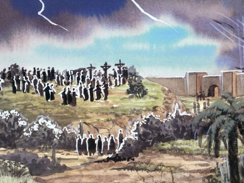The earth shook and the rocks were split apart. The tombs were opened and the bodies of many saints who had died were raised. – Slide 7