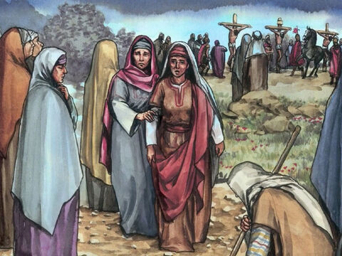 When He was in Galilee they had followed Him and given Him support. Many other women who had come up with Him to Jerusalem were there too. – Slide 11