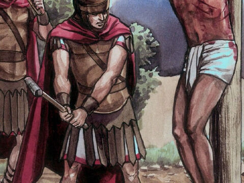 So the soldiers came and broke the legs of the two men who had been crucified with Jesus, first the one and then the other. – Slide 3