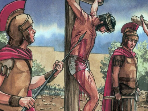 But one of the soldiers pierced Him in the side with a spear. And blood and water flowed out immediately. For these things happened so that the scriptures would be fulfilled, 'Not a bone of His will be broken.' And again another scripture says, 'They will look on the One they had pierced.' – Slide 5