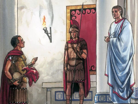 Pilate was surprised Jesus was already dead. He called the Centurion and asked whether He had been dead for some time. When Pilate was informed by the Centurion, he gave the body to Joseph. – Slide 7