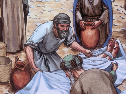 They took Jesus' body and wrapped it, with the aromatic spices, in strips of linen according to Jewish burial customs. – Slide 9