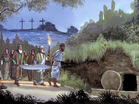 Now at the place where Jesus was crucified, there was a garden. And in the garden was a new tomb where no-one had yet been buried. – Slide 10