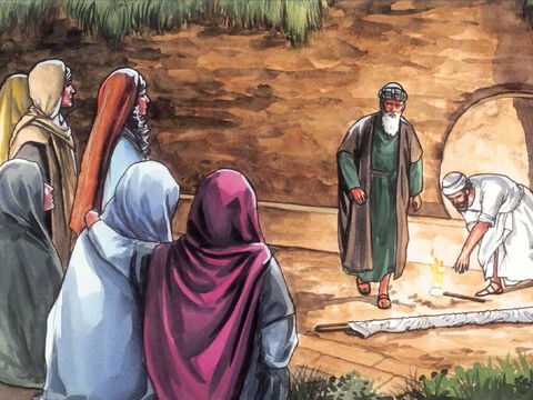 Mary Magdalene and Mary the mother of James and Joseph saw where the body was placed. The women who had accompanied Jesus from Galilee followed and saw the tomb and how His body was laid in it. – Slide 1