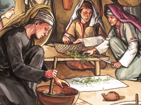 Then they returned and prepared aromatic spices and perfumes. On the Sabbath day they rested according to the command. – Slide 2