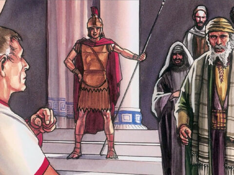 The chief priests and the Pharisees assembled before Pilate and said, 'Sir, we remember that while that deceiver was still alive, He said, 'After three days I will rise again. So give orders to seal the tomb until after the third day.' – Slide 3