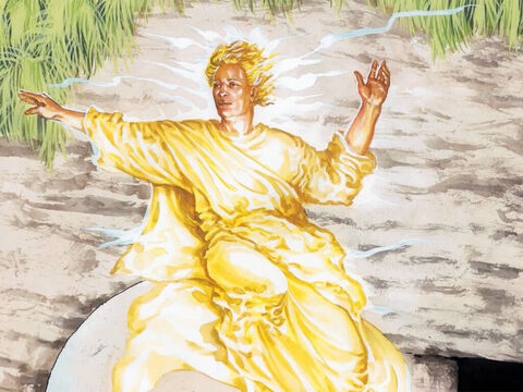 Suddenly there was a severe earthquake, for an angel of the Lord, descending from heaven, came and rolled away the stone and sat on it. His appearance was like lightning and his clothes were white as snow. – Slide 1