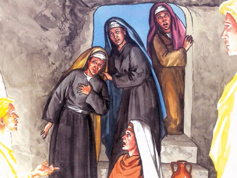 Then, as they went into the tomb, they saw a young man dressed in white robes sitting on the right side and they were alarmed. – Slide 7