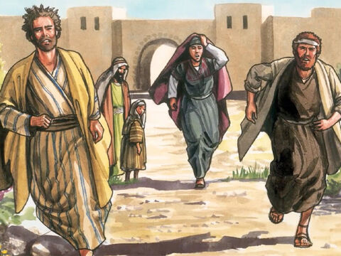 Then Peter and the other disciple set out to go to the tomb. The two were running together. The other disciple ran faster than Peter and reached the tomb first. – Slide 13